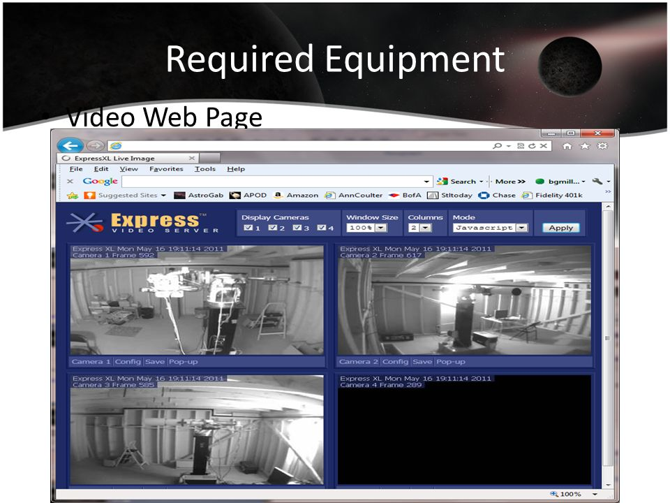 Required Equipment Video Web Page