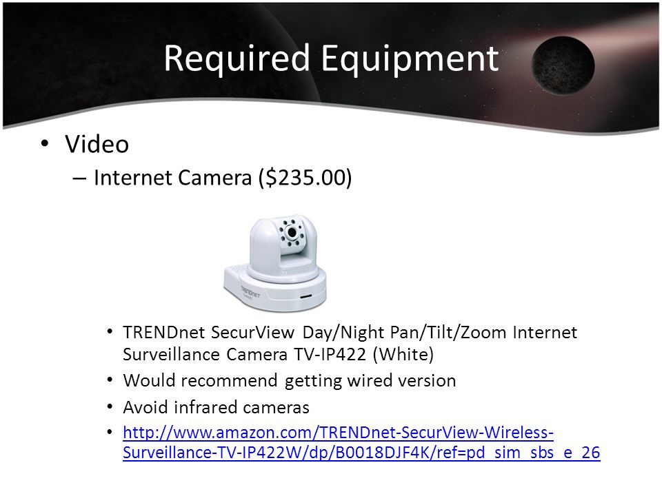 Required Equipment Video Internet Camera ($235.00)