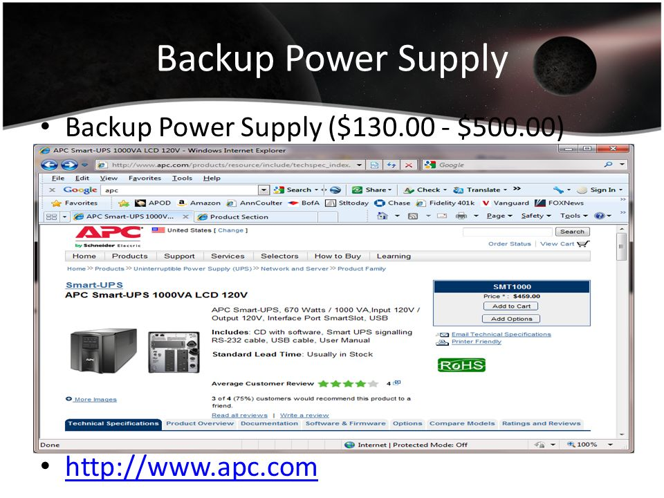 Backup Power Supply Backup Power Supply ($130.00 - $500.00)