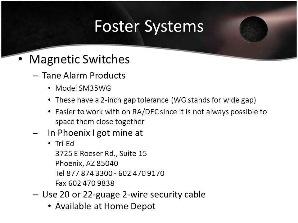 Foster Systems Magnetic Switches Tane Alarm Products