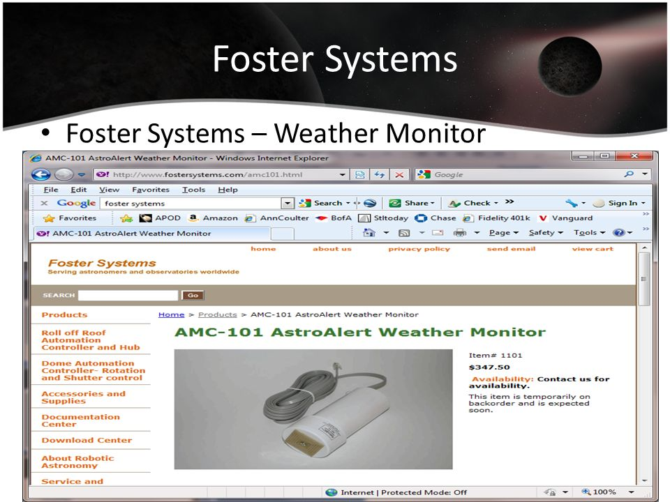 Foster Systems Foster Systems – Weather Monitor