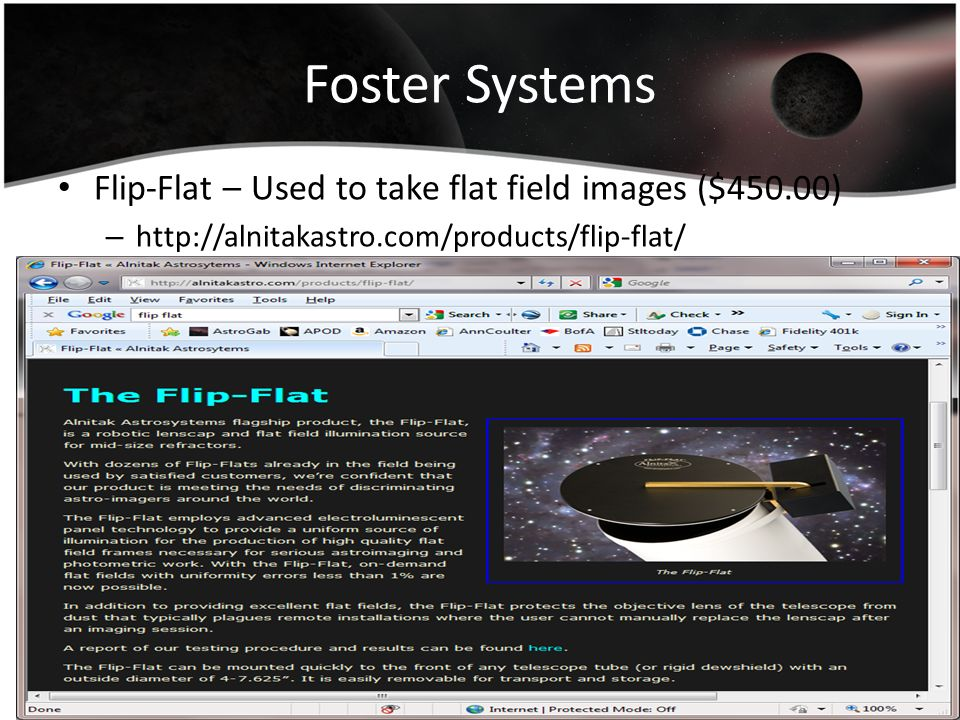 Foster Systems Flip-Flat – Used to take flat field images ($450.00)