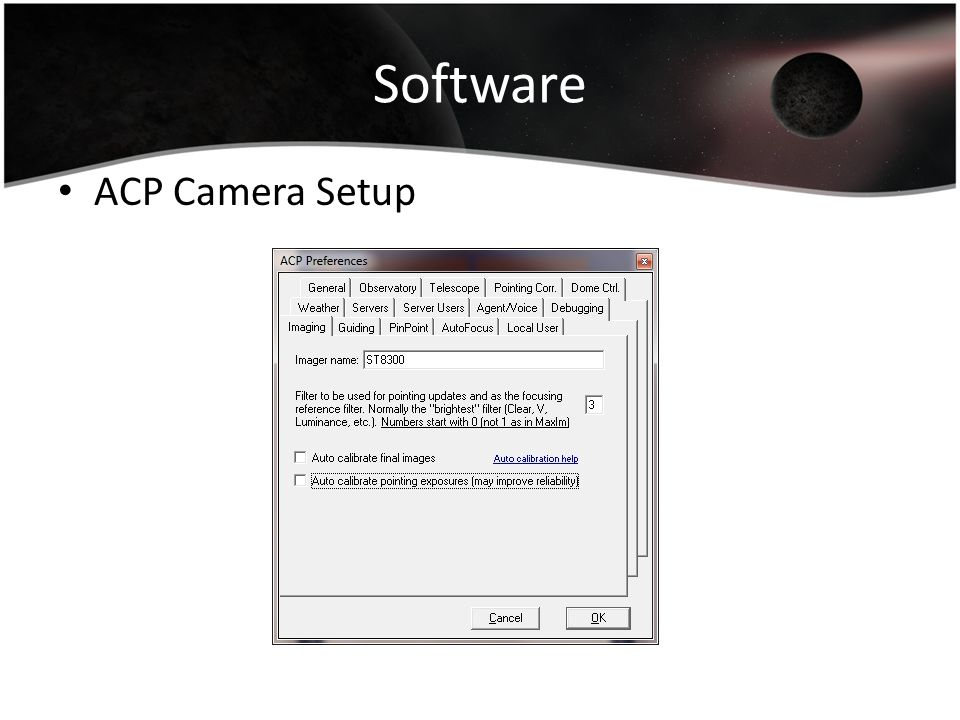 Software ACP Camera Setup