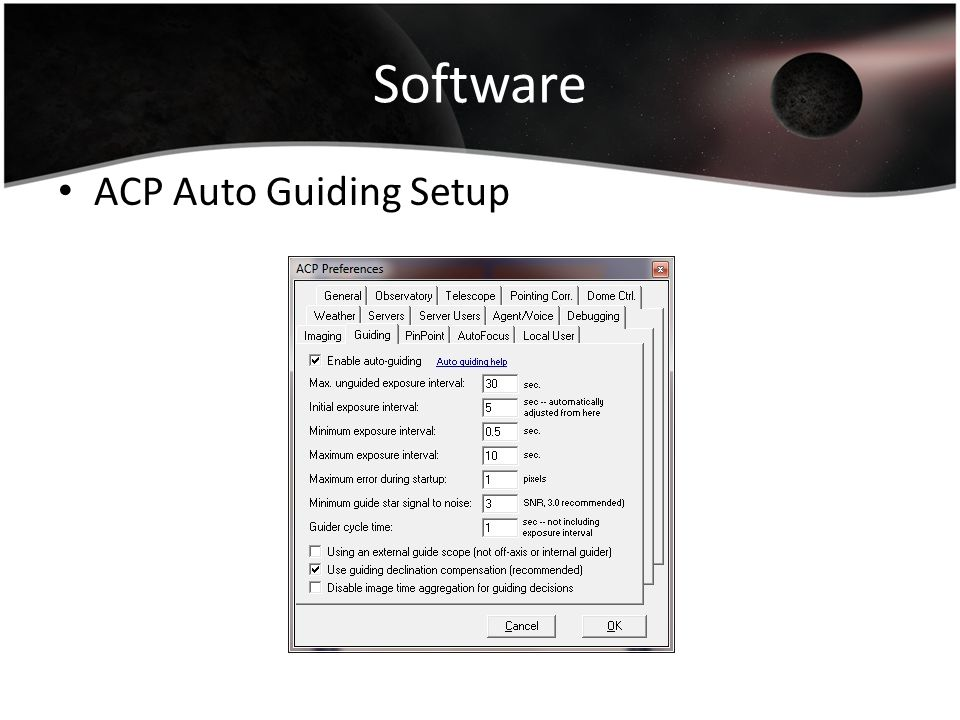 Software ACP Auto Guiding Setup