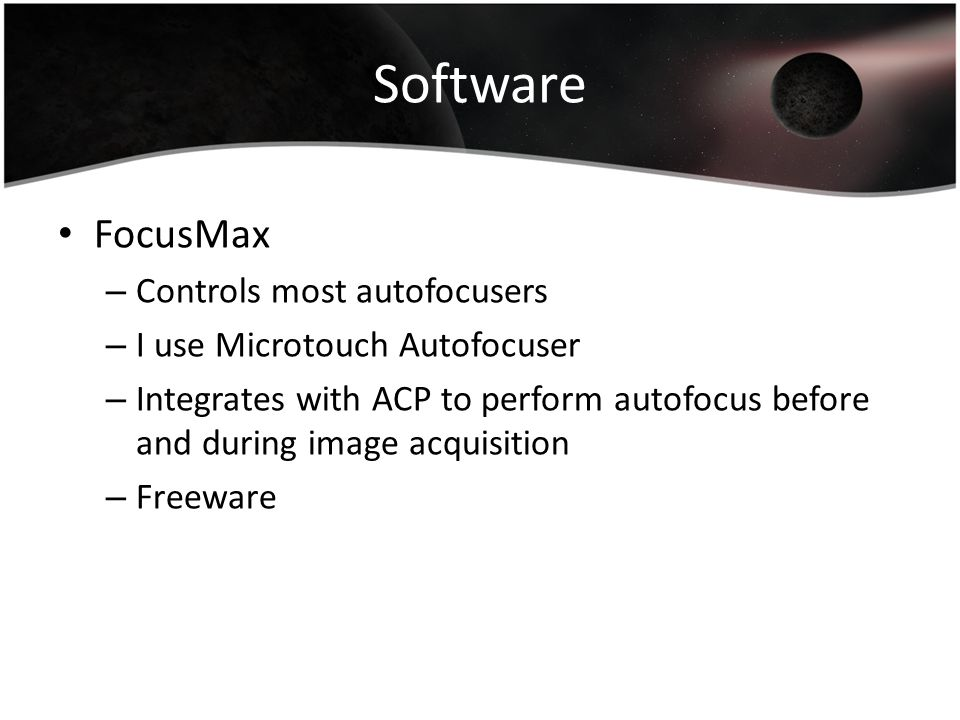 Software FocusMax Controls most autofocusers