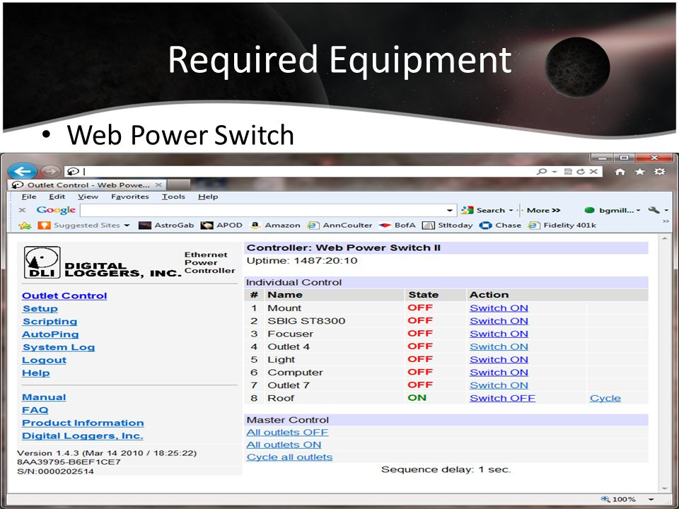 Required Equipment Web Power Switch