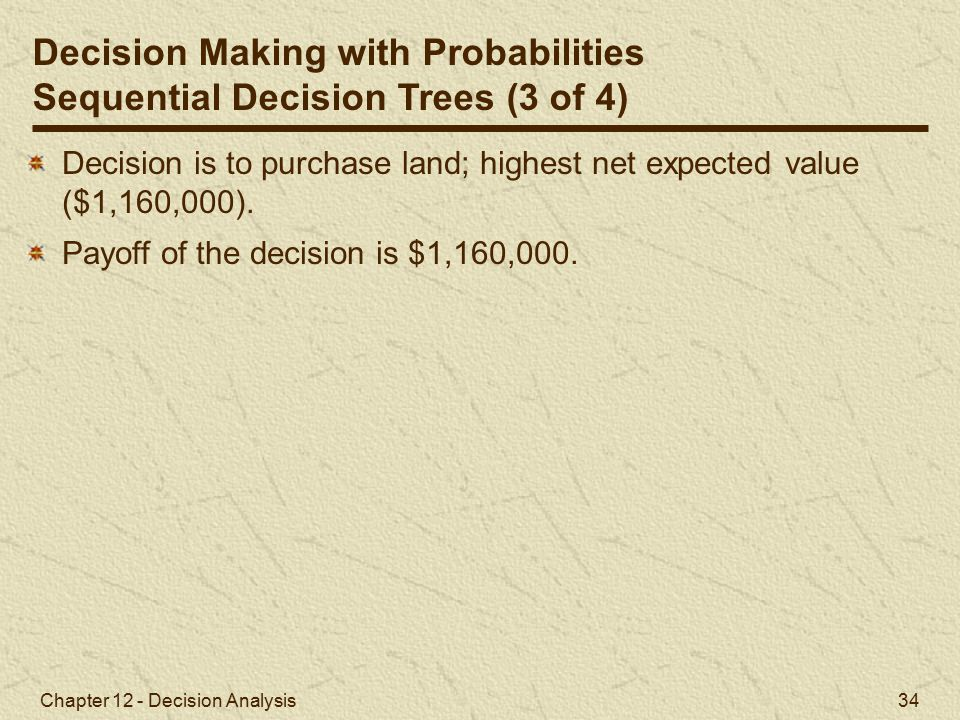 Decision Making with Probabilities Sequential Decision Trees (3 of 4)
