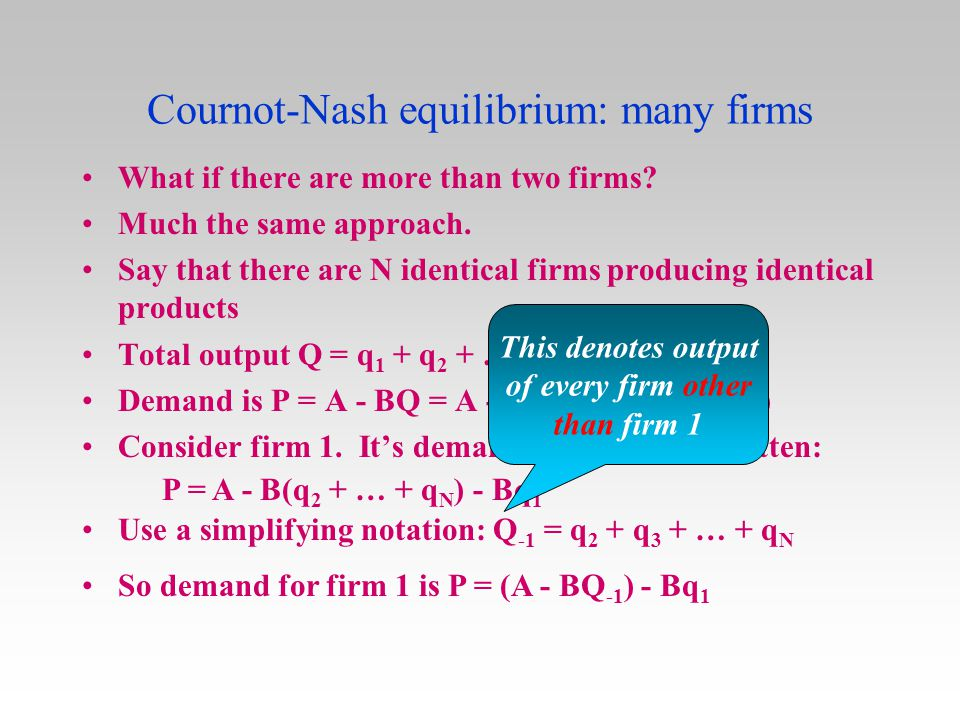 Cournot-Nash equilibrium: many firms