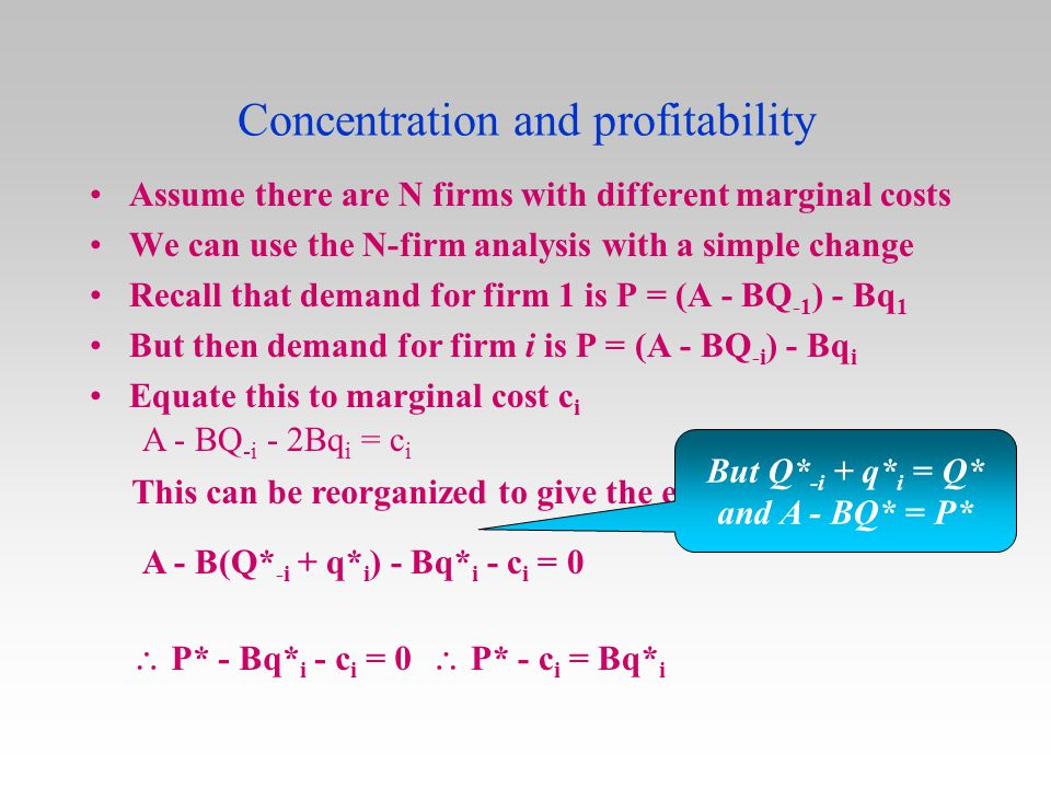 Concentration and profitability