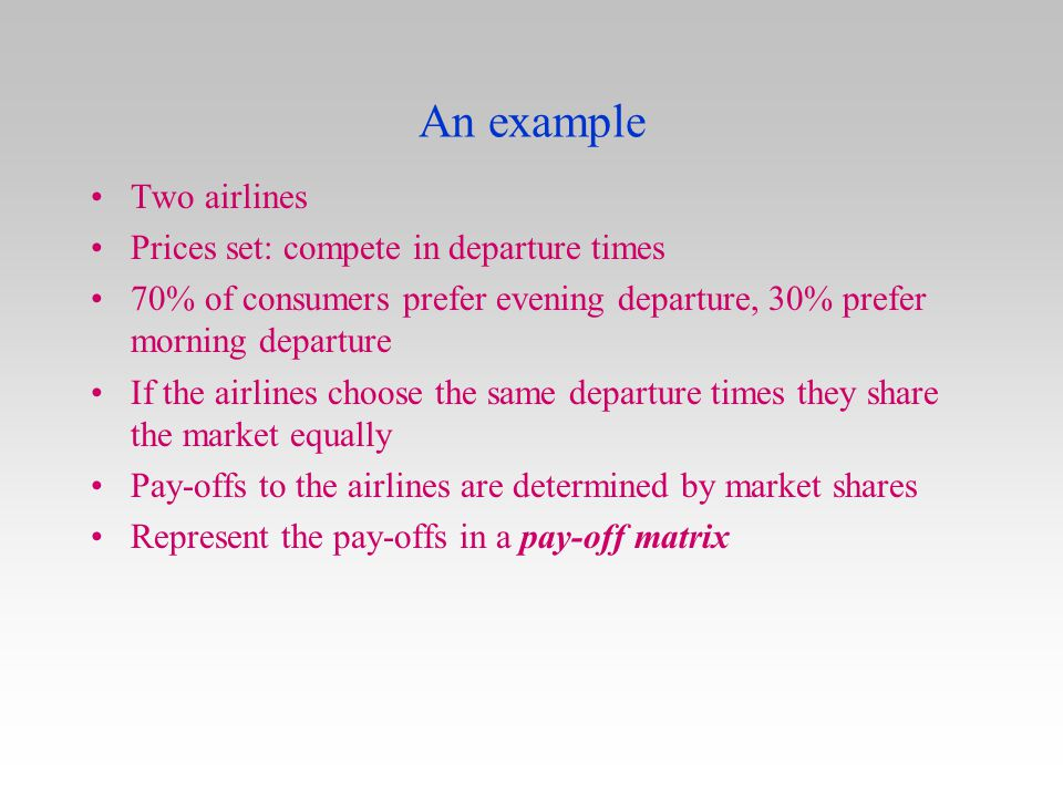 An example Two airlines Prices set: compete in departure times