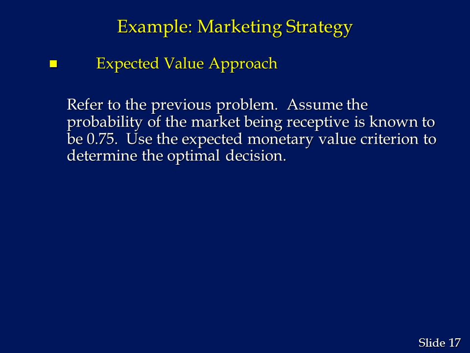 Example: Marketing Strategy