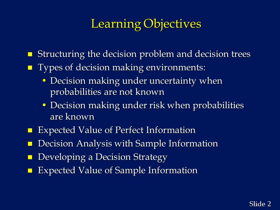 Learning Objectives Structuring the decision problem and decision trees. Types of decision making environments: