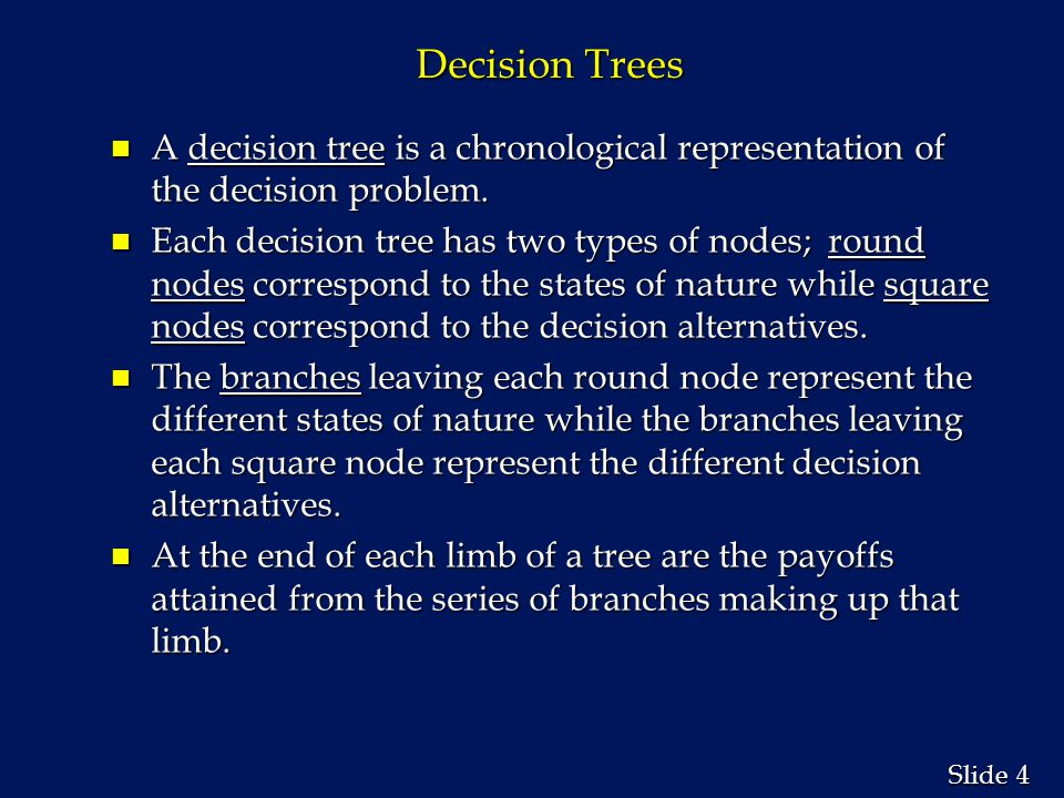 Decision Trees A decision tree is a chronological representation of the decision problem.