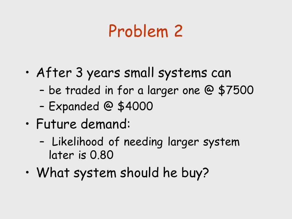 Problem 2 After 3 years small systems can Future demand: