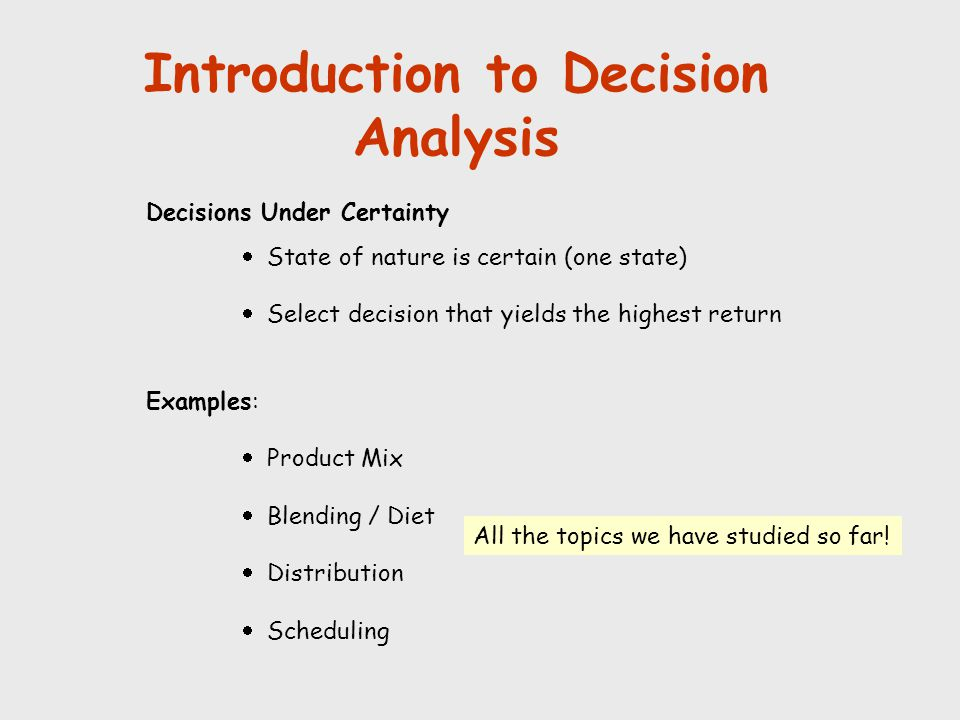 Introduction to Decision Analysis