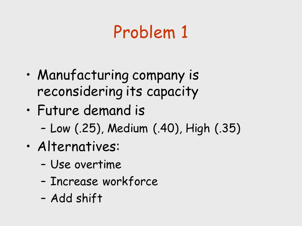 Problem 1 Manufacturing company is reconsidering its capacity