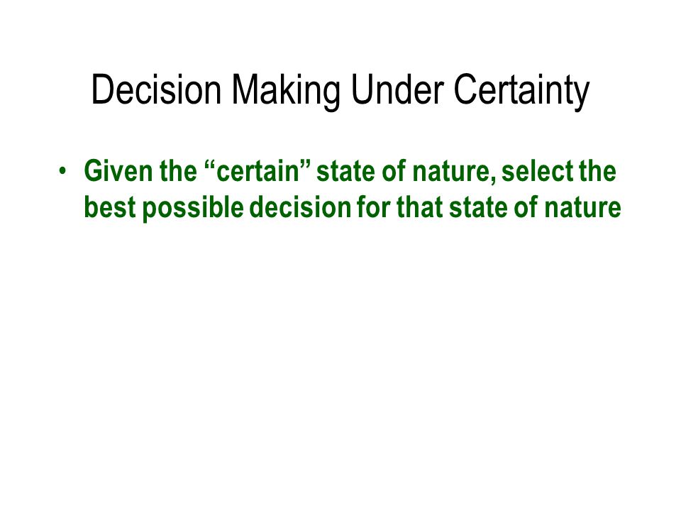 certainty under decision making examples Definition of certainty: theoretical condition in which decision making is without risk, because the decision maker has all the information about show more examples.