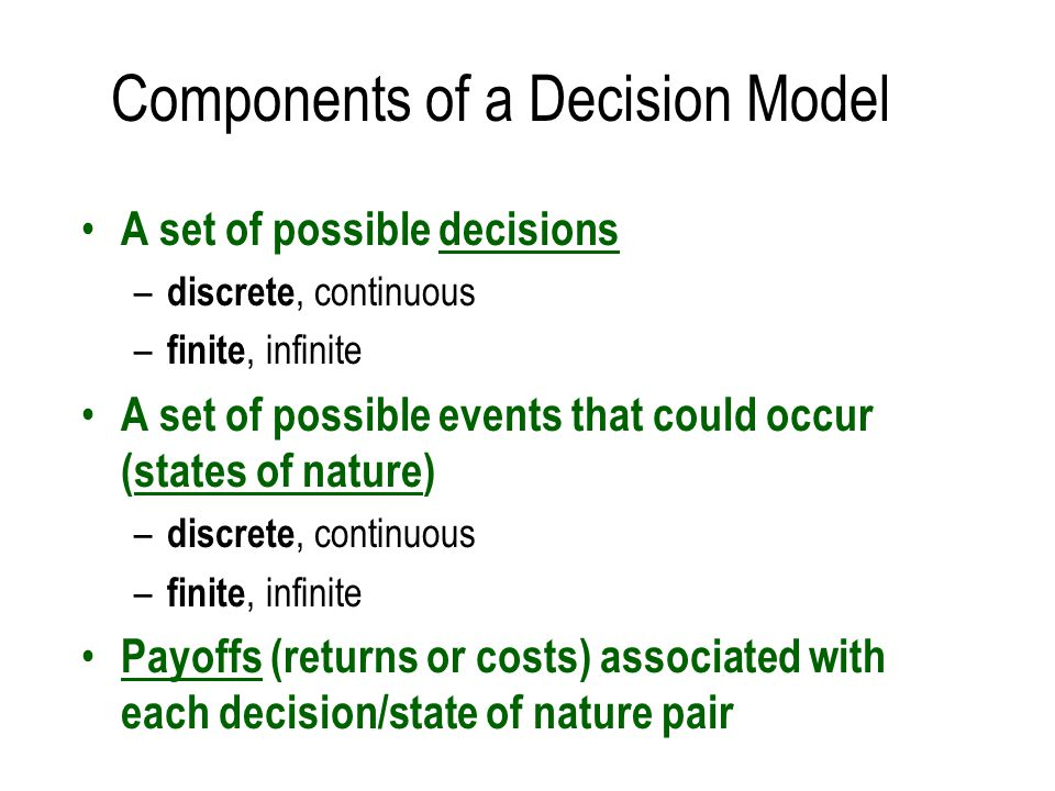 Components of a Decision Model