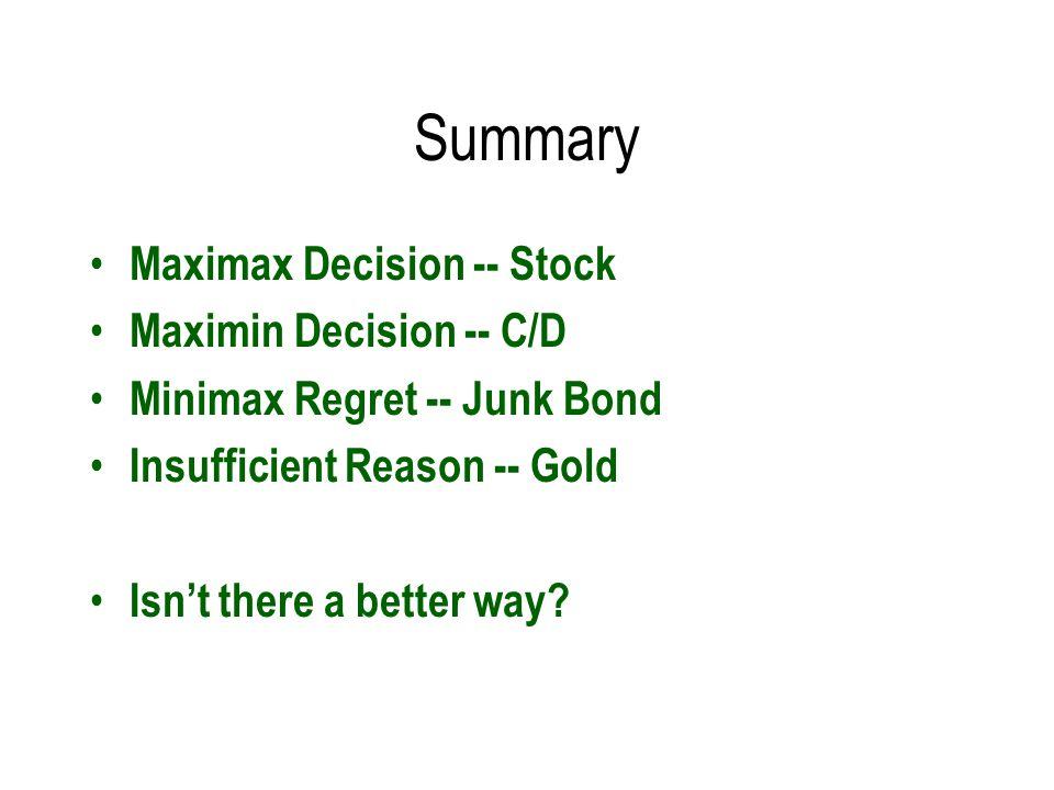 Summary Maximax Decision -- Stock Maximin Decision -- C/D