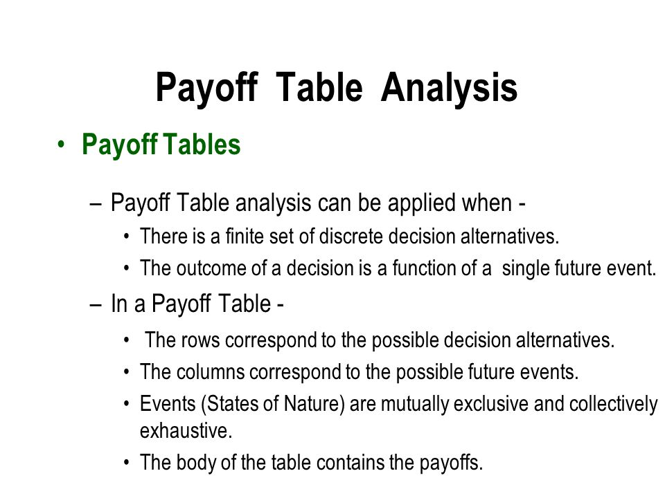 Payoff Table Analysis Payoff Tables
