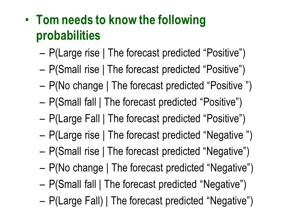 Tom needs to know the following probabilities