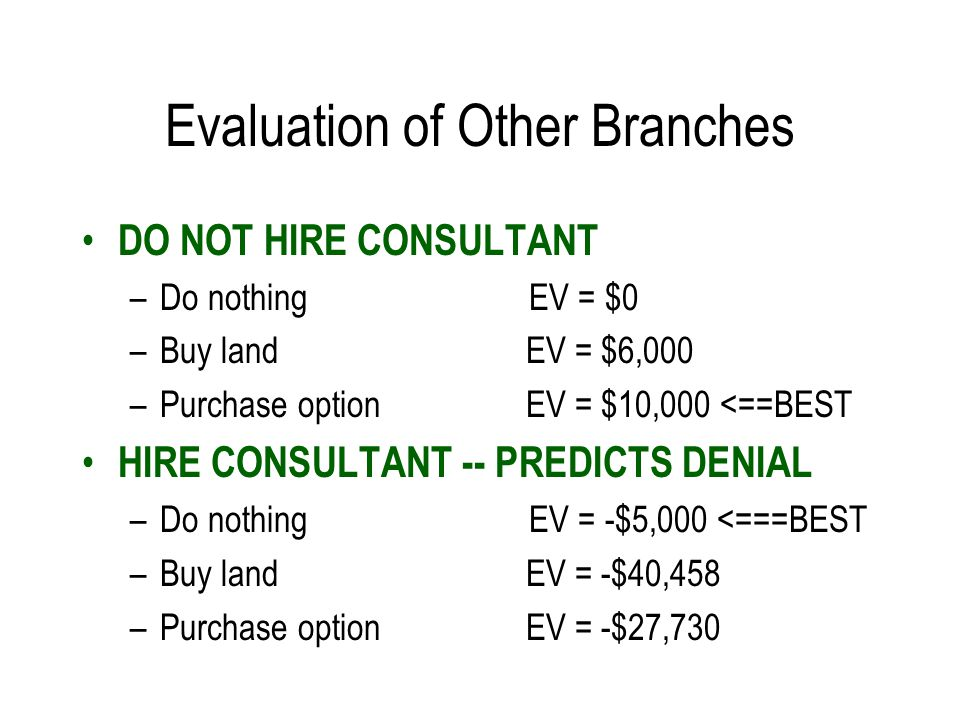 Evaluation of Other Branches