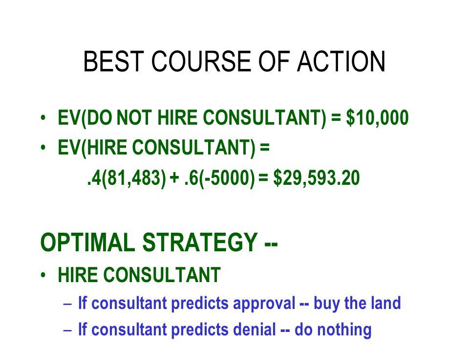 BEST COURSE OF ACTION OPTIMAL STRATEGY --