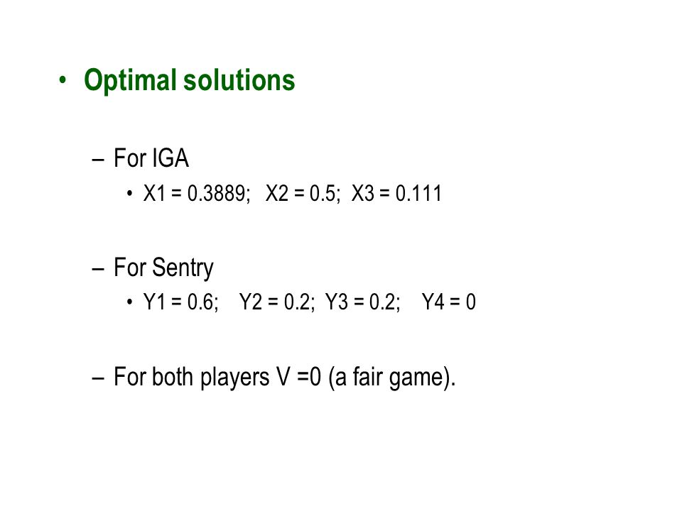 Optimal solutions For IGA For Sentry