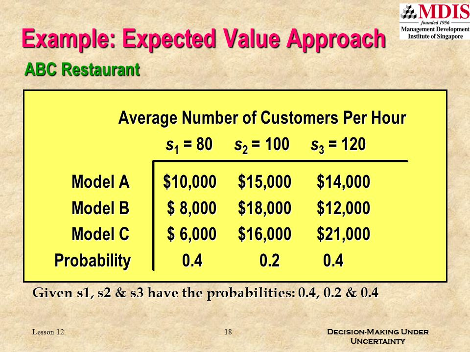 Example: Expected Value Approach