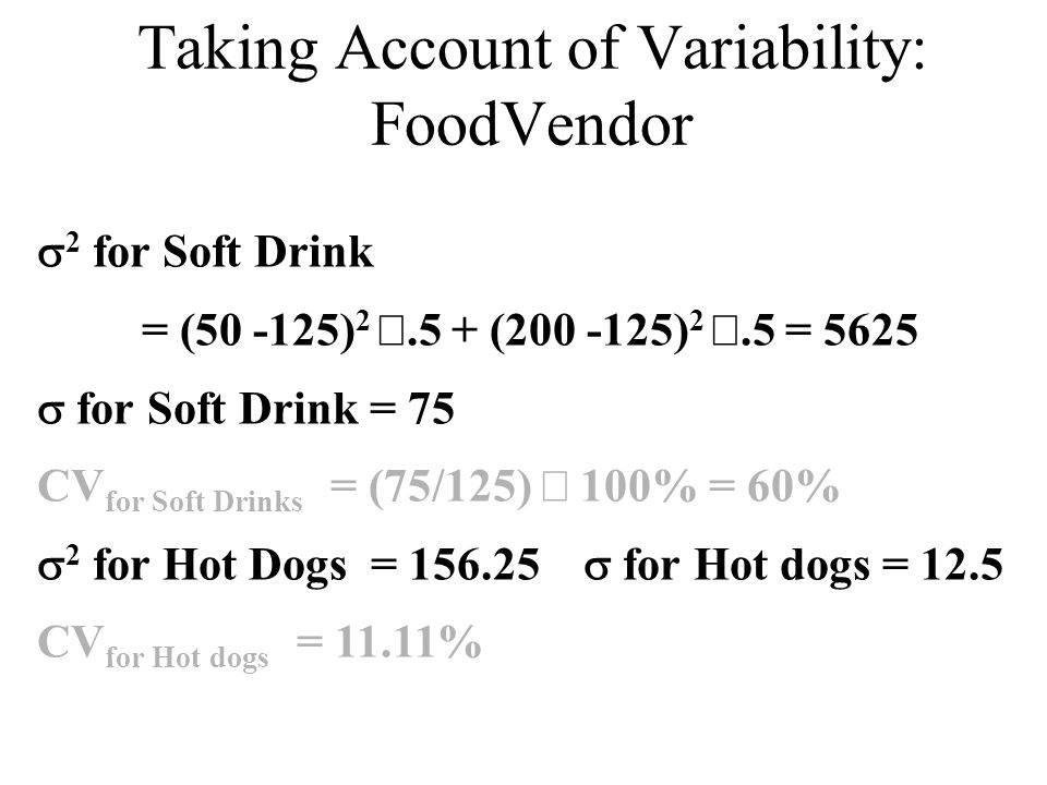 Taking Account of Variability: FoodVendor