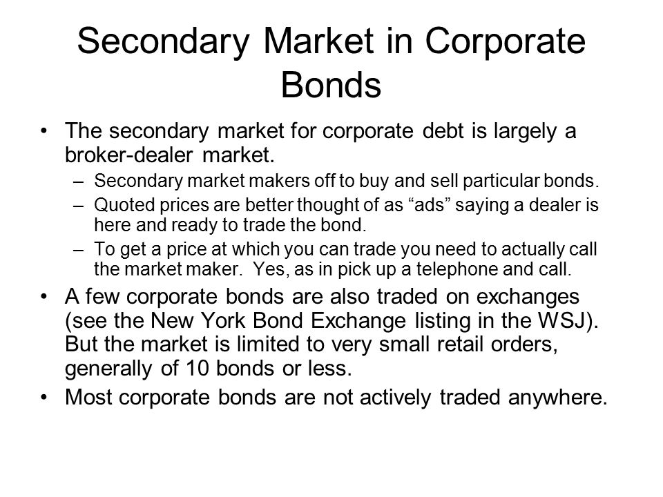 Secondary Market in Corporate Bonds