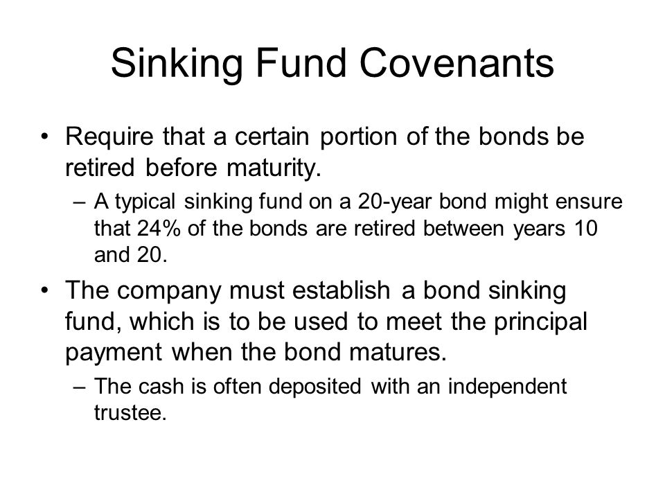Sinking Fund Covenants
