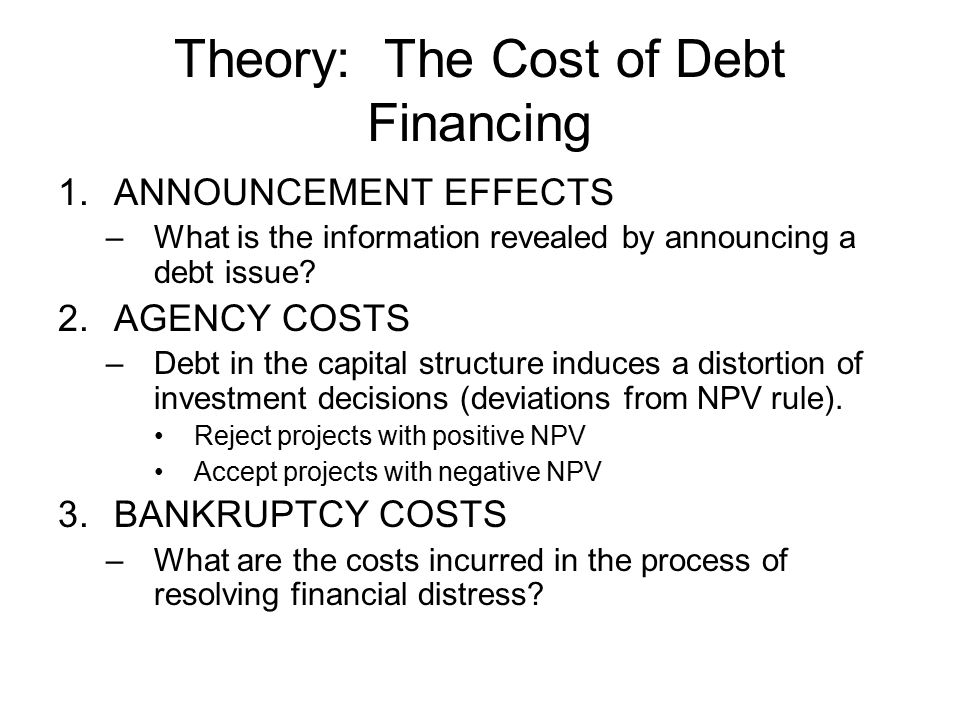 Theory: The Cost of Debt Financing