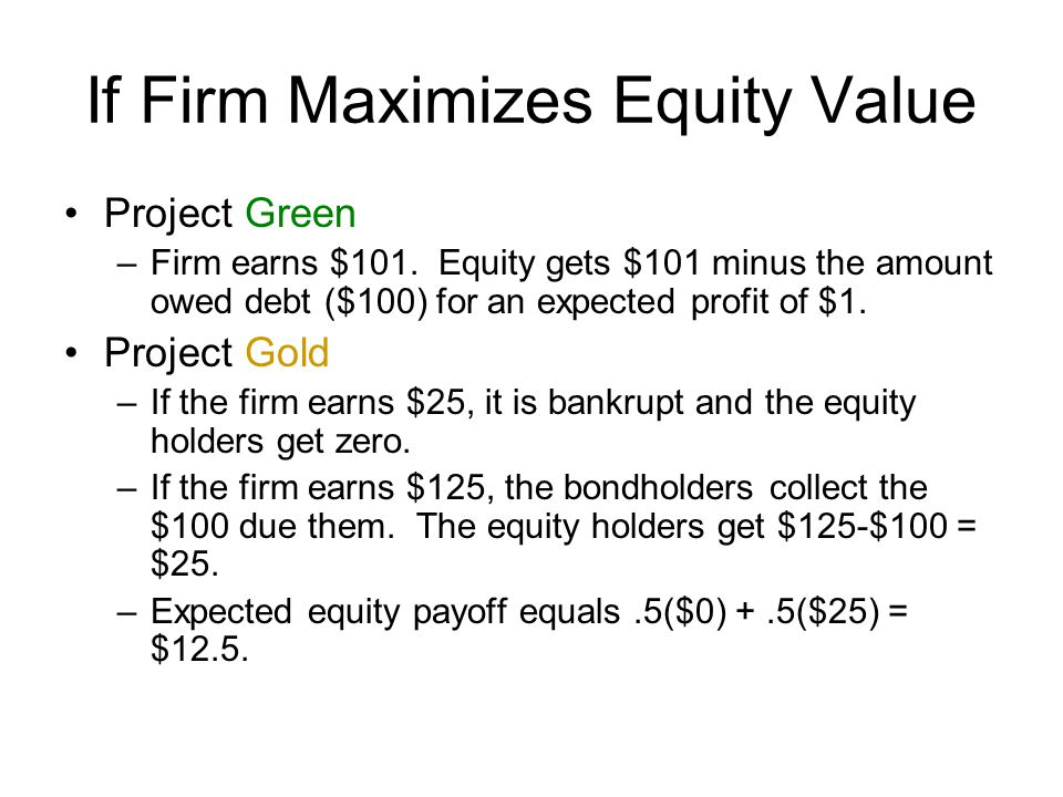 If Firm Maximizes Equity Value
