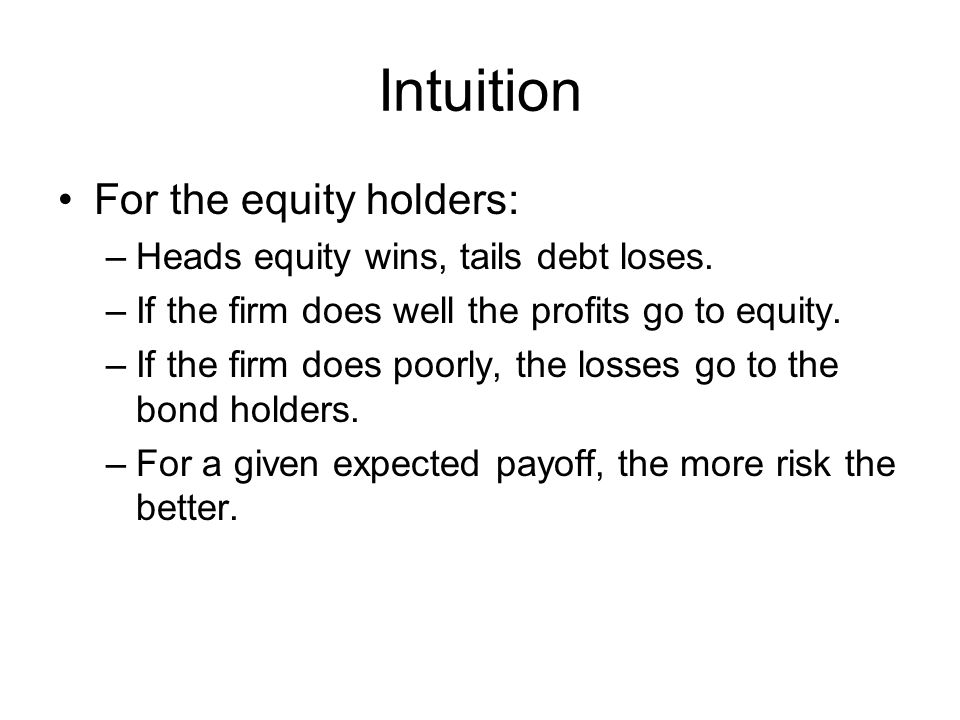 Intuition For the equity holders: Heads equity wins, tails debt loses.