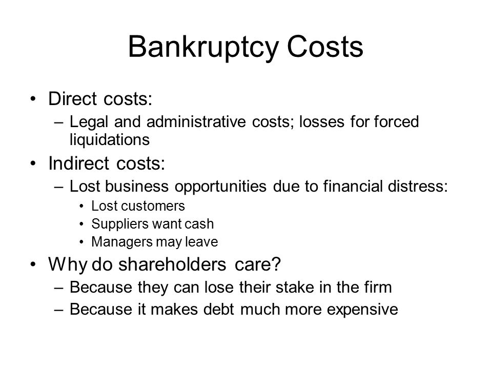 Bankruptcy Costs Direct costs: Indirect costs: