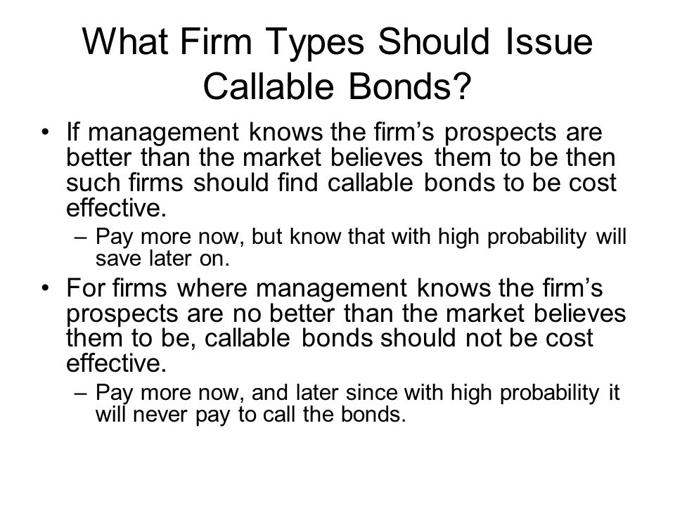 What Firm Types Should Issue Callable Bonds