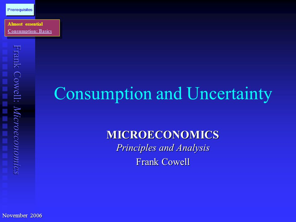 Consumption and Uncertainty