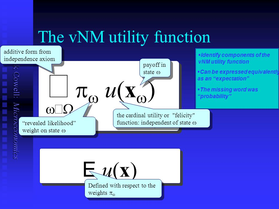 The vNM utility function