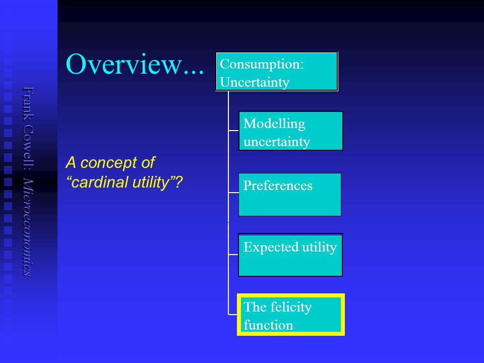 Overview... A concept of cardinal utility Consumption: Uncertainty