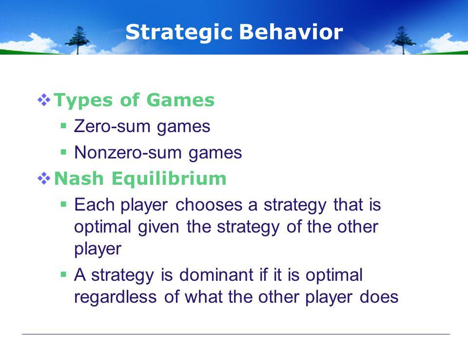 Strategic Behavior Types of Games Zero-sum games Nonzero-sum games