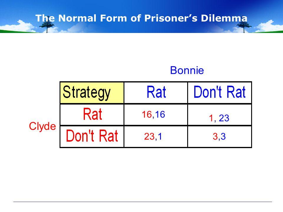 The Normal Form of Prisoner's Dilemma