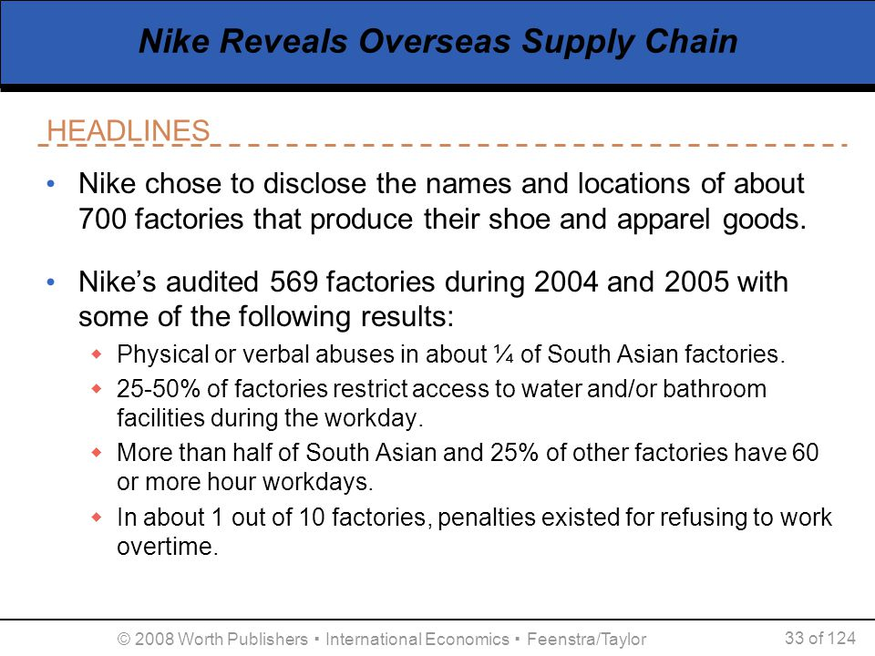 Nike Reveals Overseas Supply Chain