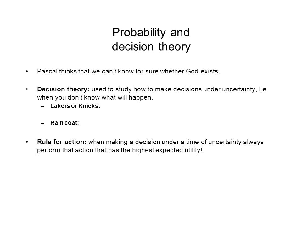 Probability and decision theory