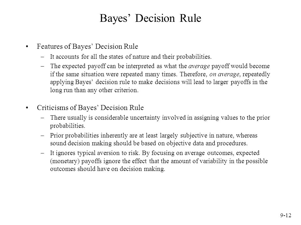 Bayes' Decision Rule Features of Bayes' Decision Rule