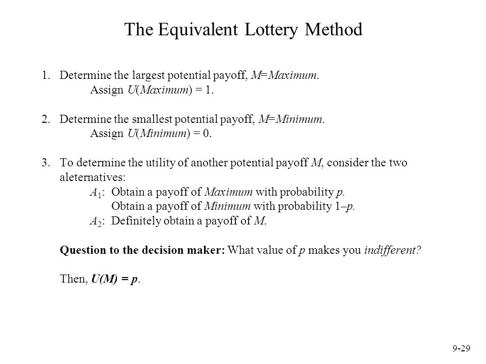 The Equivalent Lottery Method