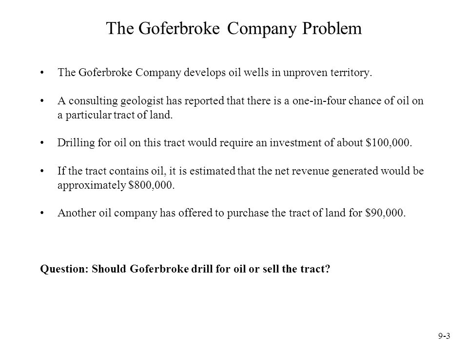 The Goferbroke Company Problem