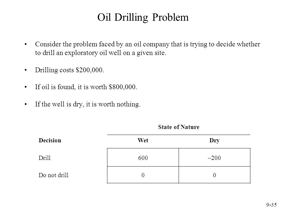 Oil Drilling Problem Consider the problem faced by an oil company that is trying to decide whether to drill an exploratory oil well on a given site.