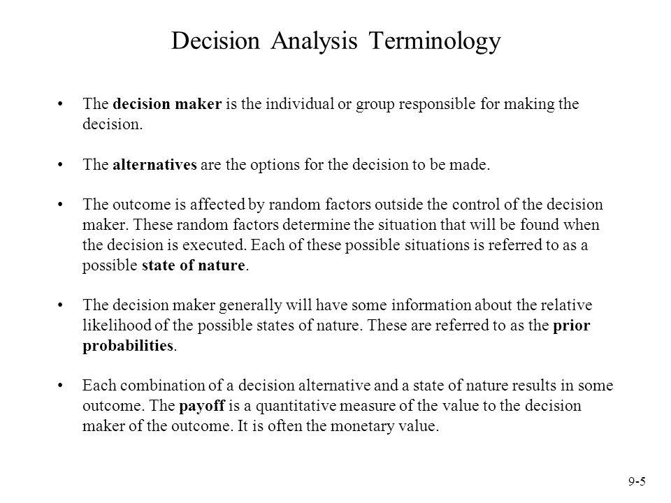 Decision Analysis Terminology