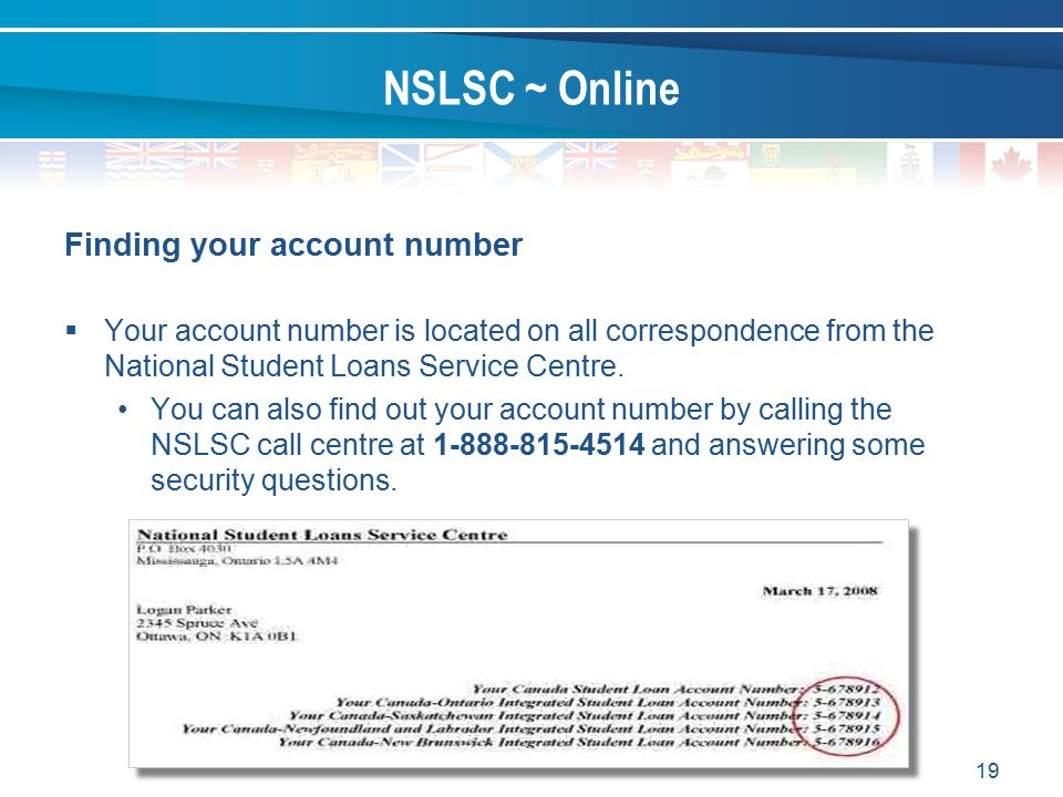 NSLSC ~ Online Finding your account number